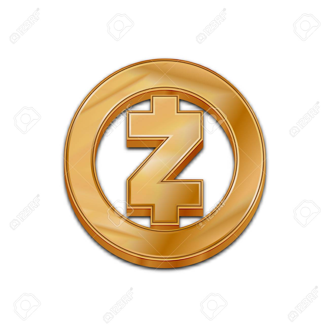 Golden Zcash Coin Symbol Isolated Web Vector Icon Trendy 3d Style