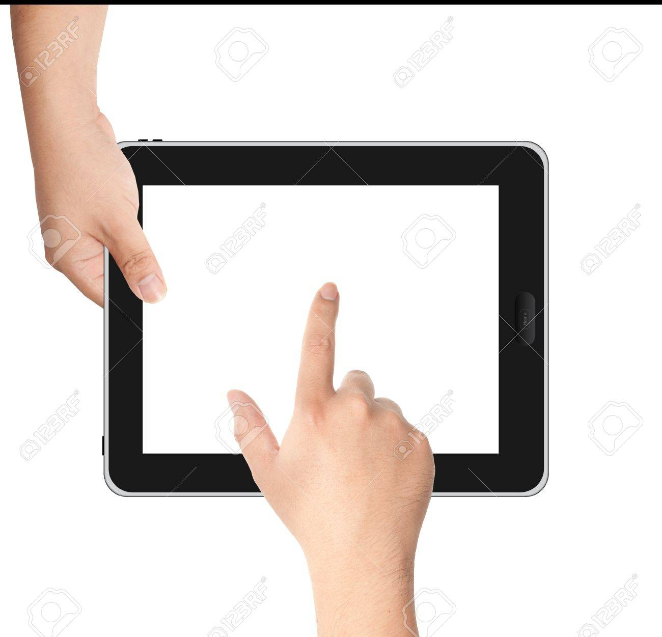 Finger pointing at tablet PC in landscape position with white screen isolated on white background Stock Photo - 14183354