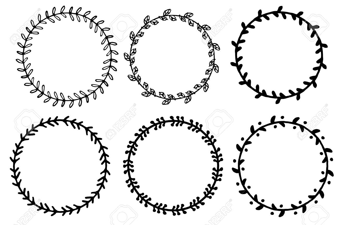 Set Of Doodle Floral And Leaf Circle Frames Illustration Vector