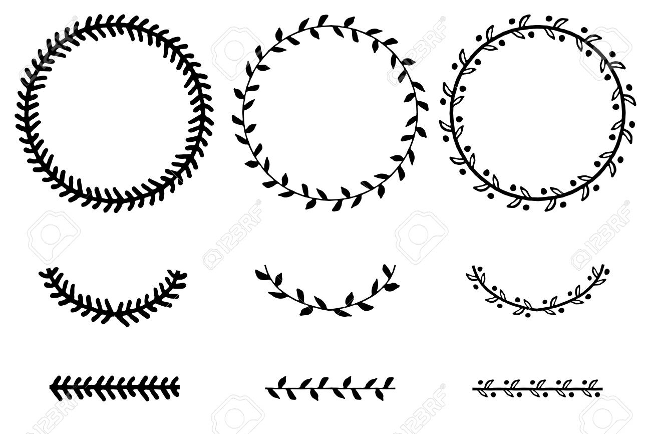 Set Of Doodle Floral And Leaf Circle Frames.illustration Vector ...