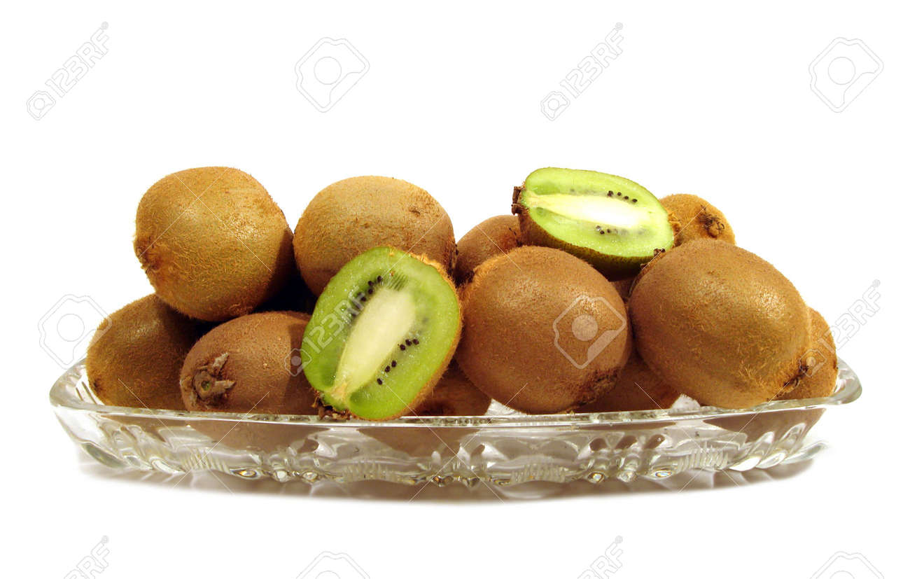 kiwi in plate over white background Stock Photo - 784492