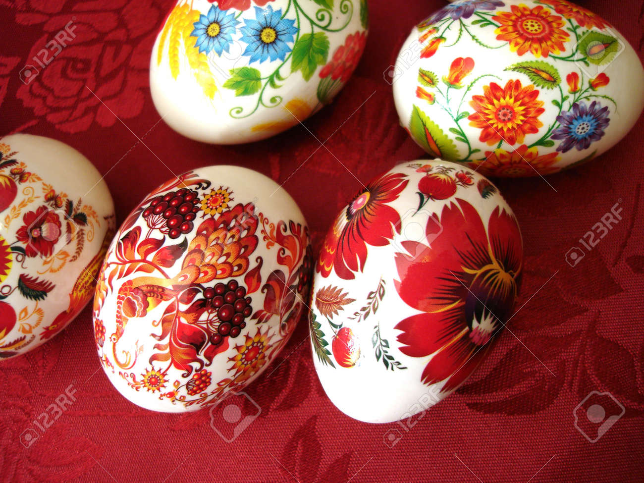 beautiful easter eggs on red background stock photo picture and