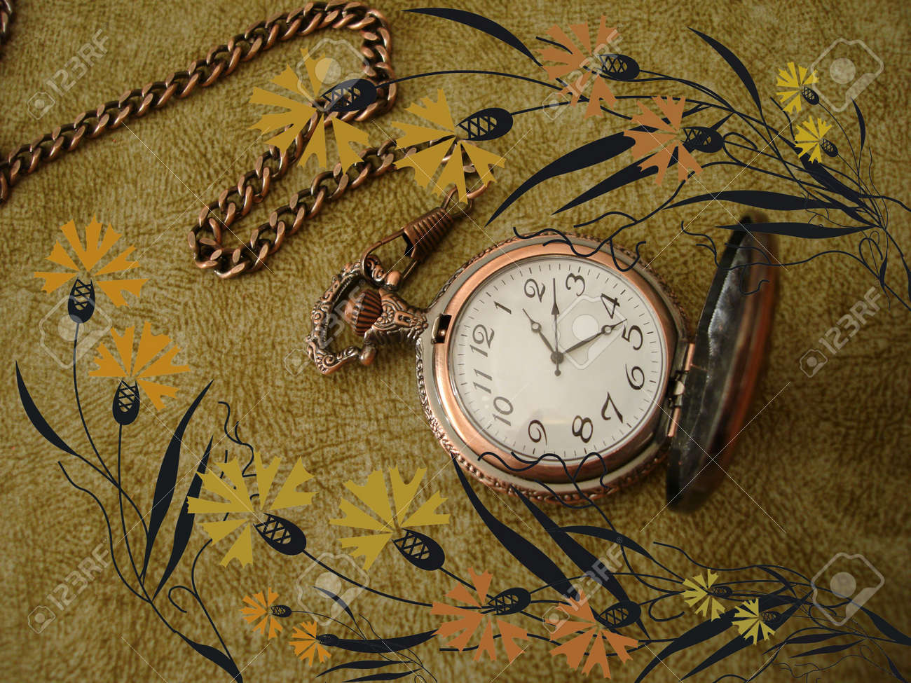 old clock on vintage background with flowers Stock Photo - 851228