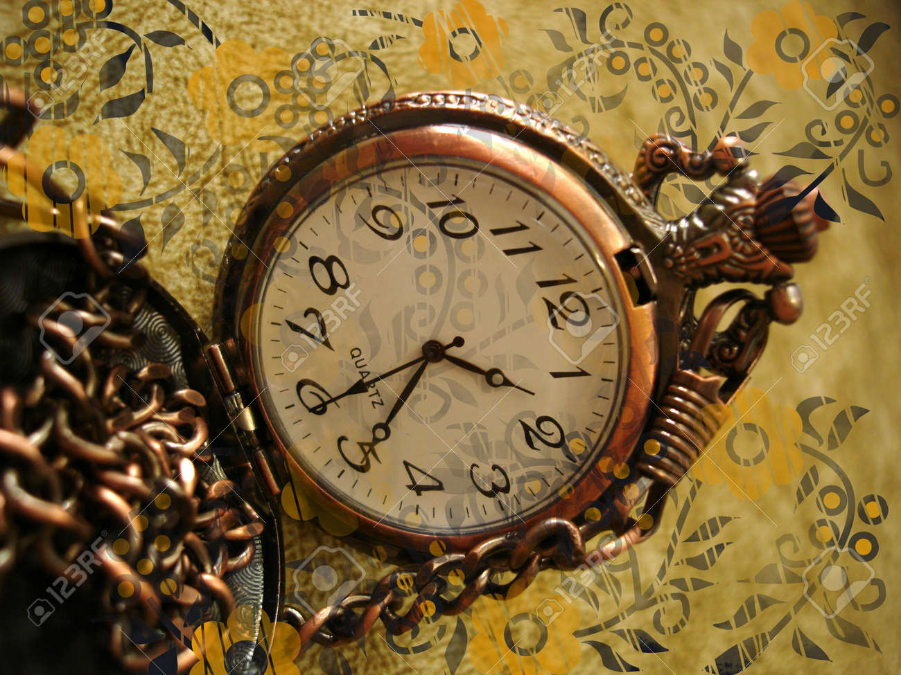 old clock on vintage background with flowers Stock Photo - 851229