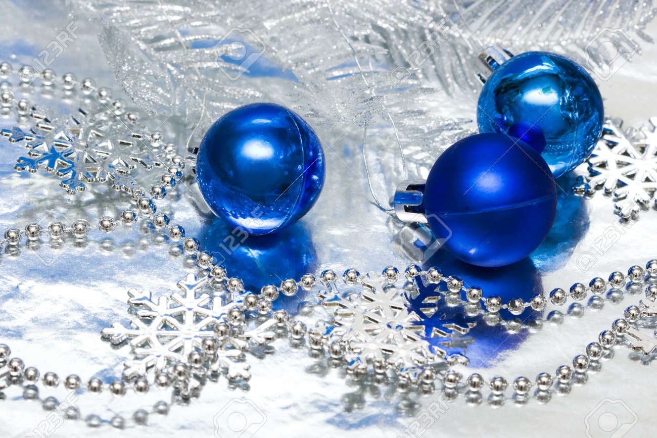 Blue Christmas Balls With Silver Tree Stock Photo, Picture And ...