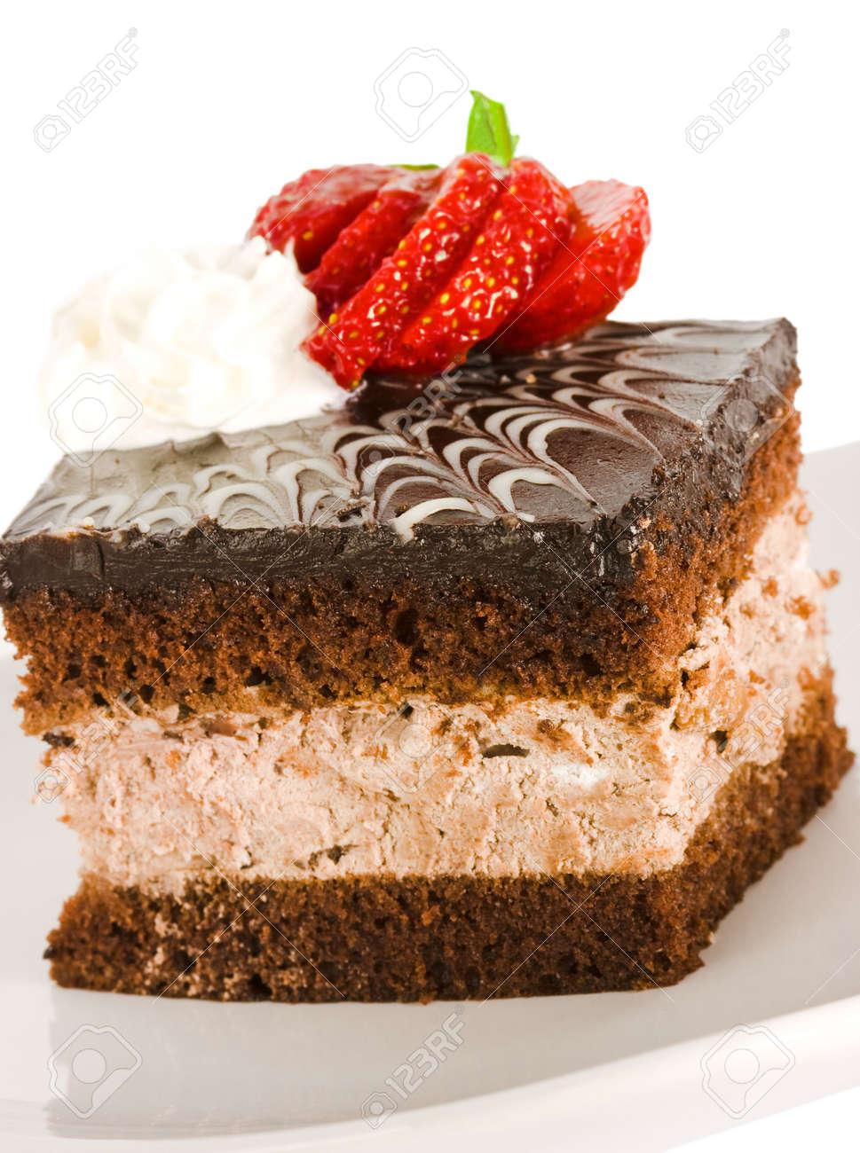 piece of chocolate cake with strawberry Stock Photo - 3297149