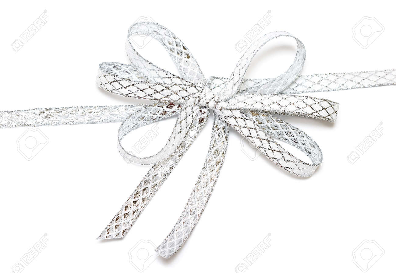 silver ribbon isolated on white background Stock Photo - 3952729