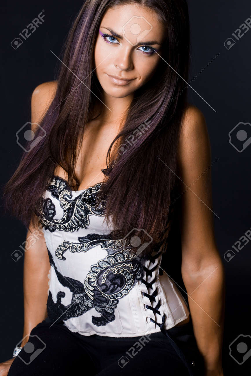 Sexy fashionable woman on black Stock Photo - 5971195