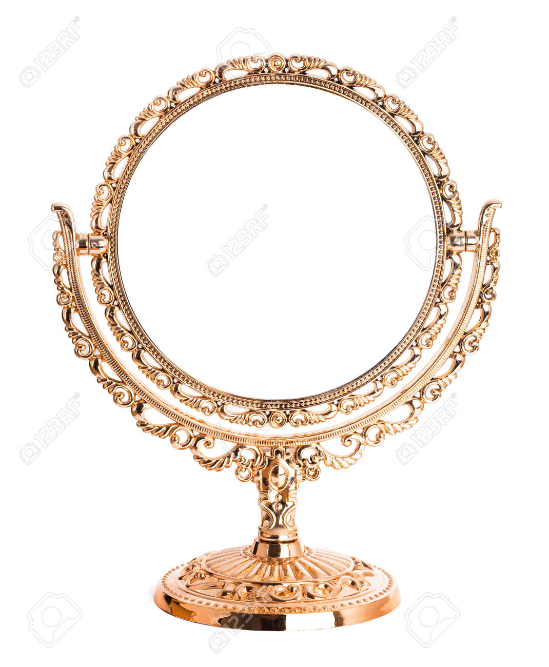 Antique golden mirror isolated on white background Stock Photo - 6514999