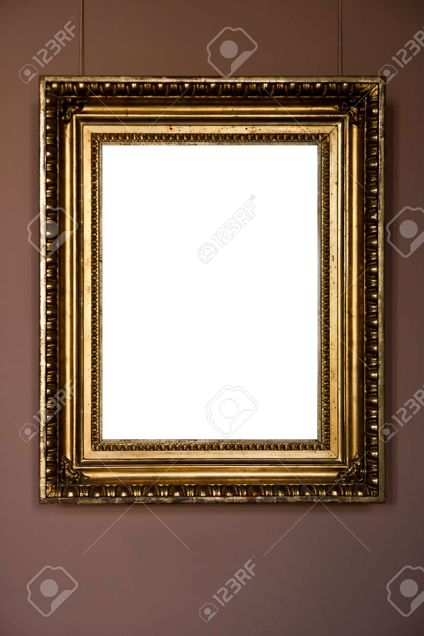 gold antique frame on pink background Stock Photo - 10966879