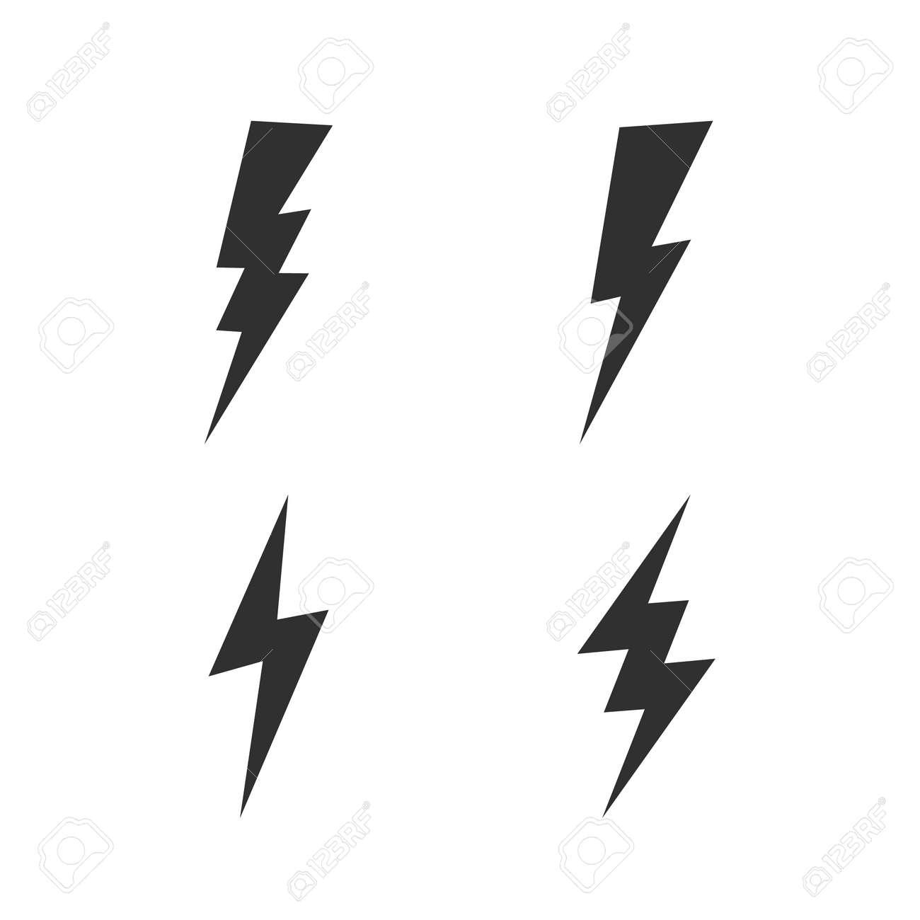 Lightning bolt icons set. Thunderbolt, lightning strike icon isolated on white background. Vector illustration - 158436932