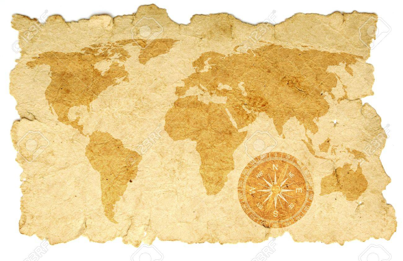 world map with compass on old paper Stock Photo - 9165196