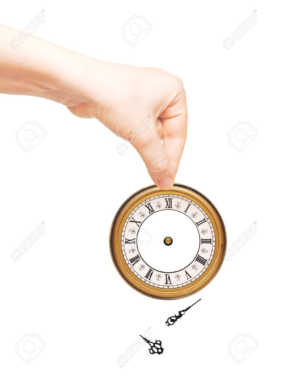 Hand with clock isolated on white background Stock Photo - 9597548