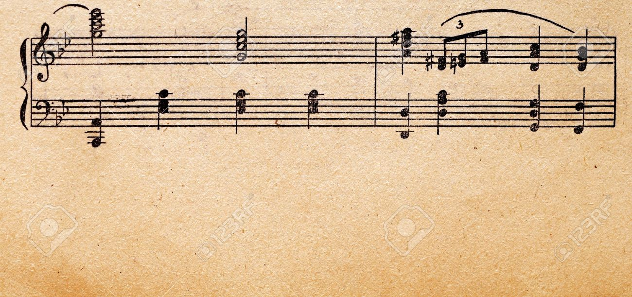 music notes on old paper sheet, to use for the background Stock Photo - 9598075