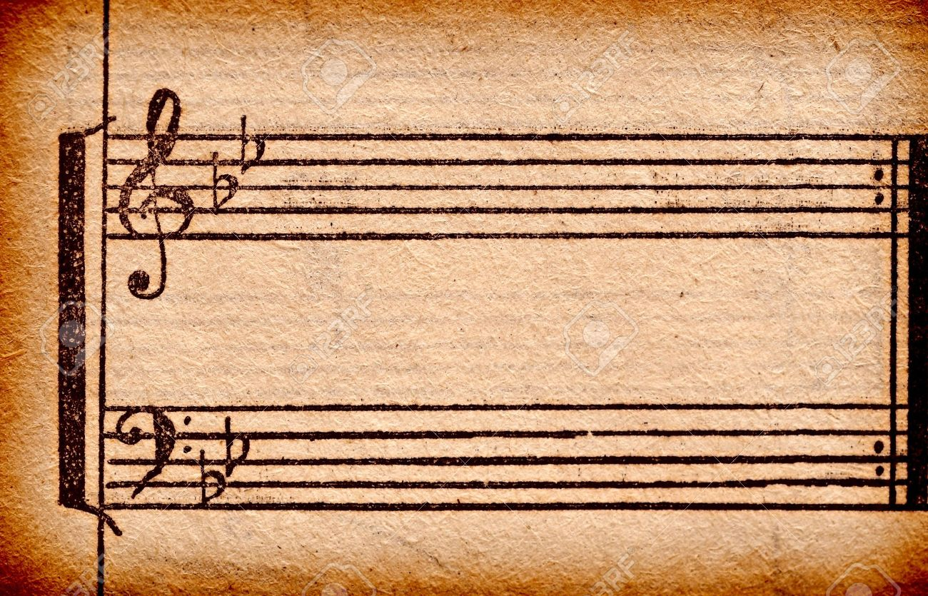 music notes on old paper sheet, to use for the background Stock Photo - 9598072