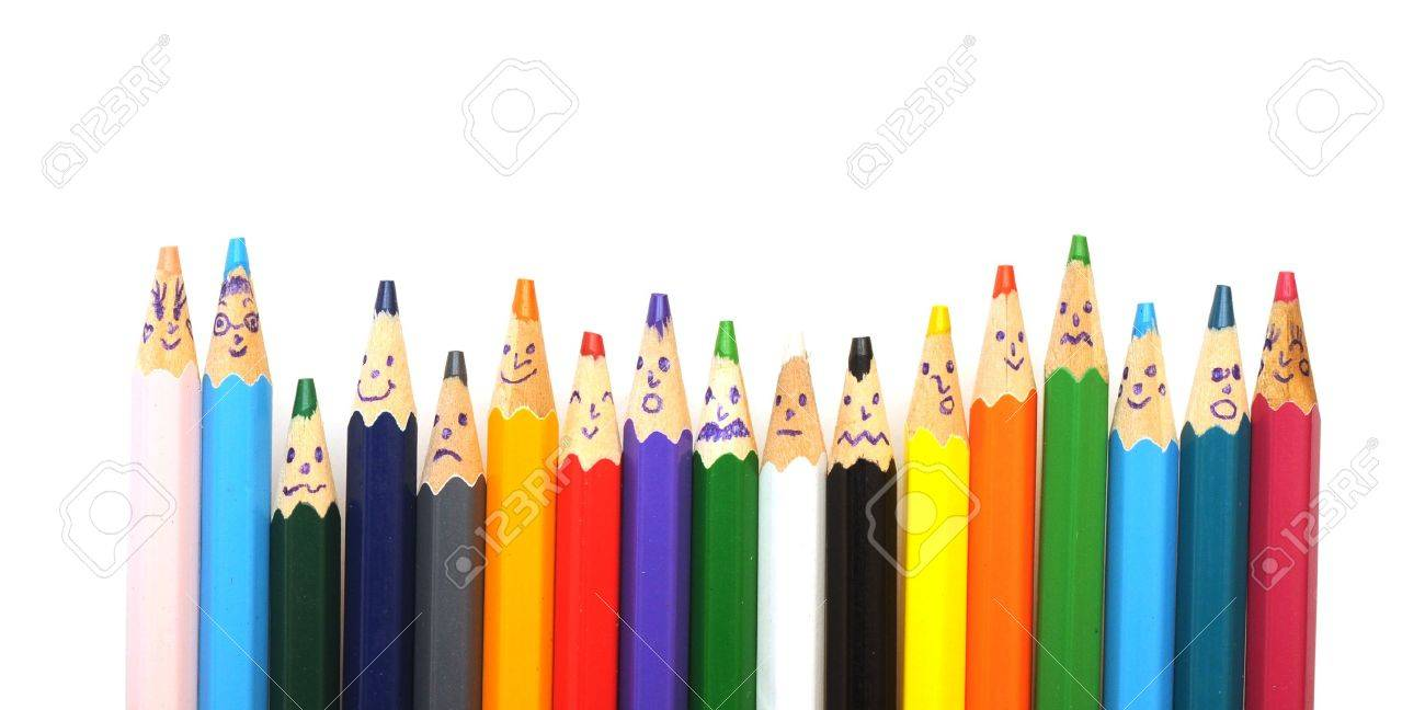 Happy group of pencil faces isolated on white Stock Photo - 9672780