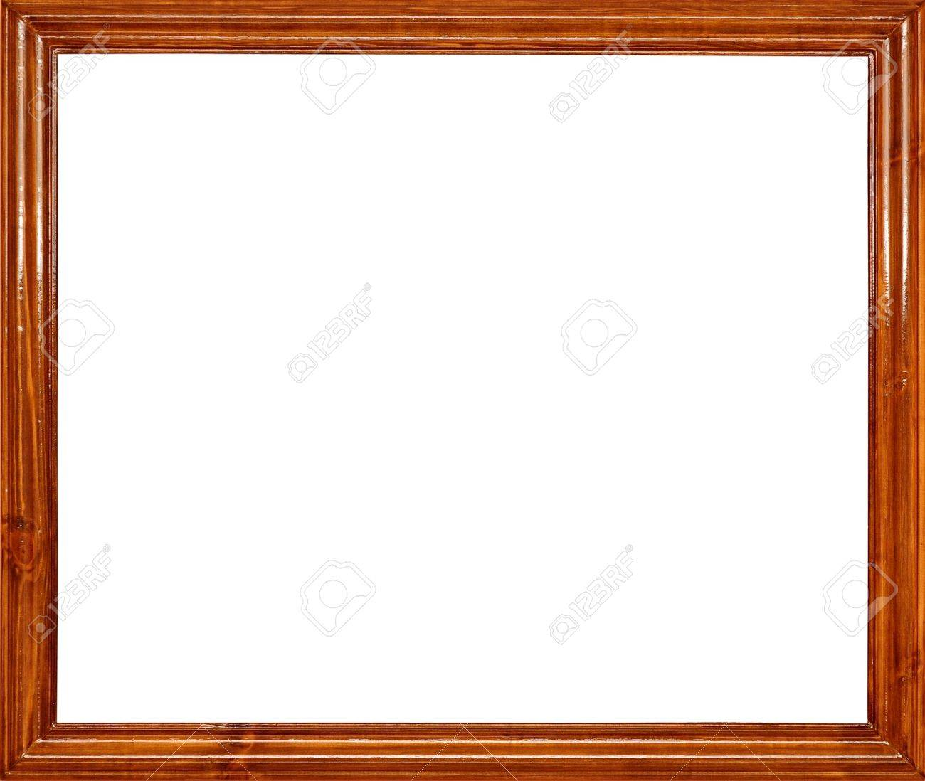 photo of wood frame for a picture isolated on white stock photo