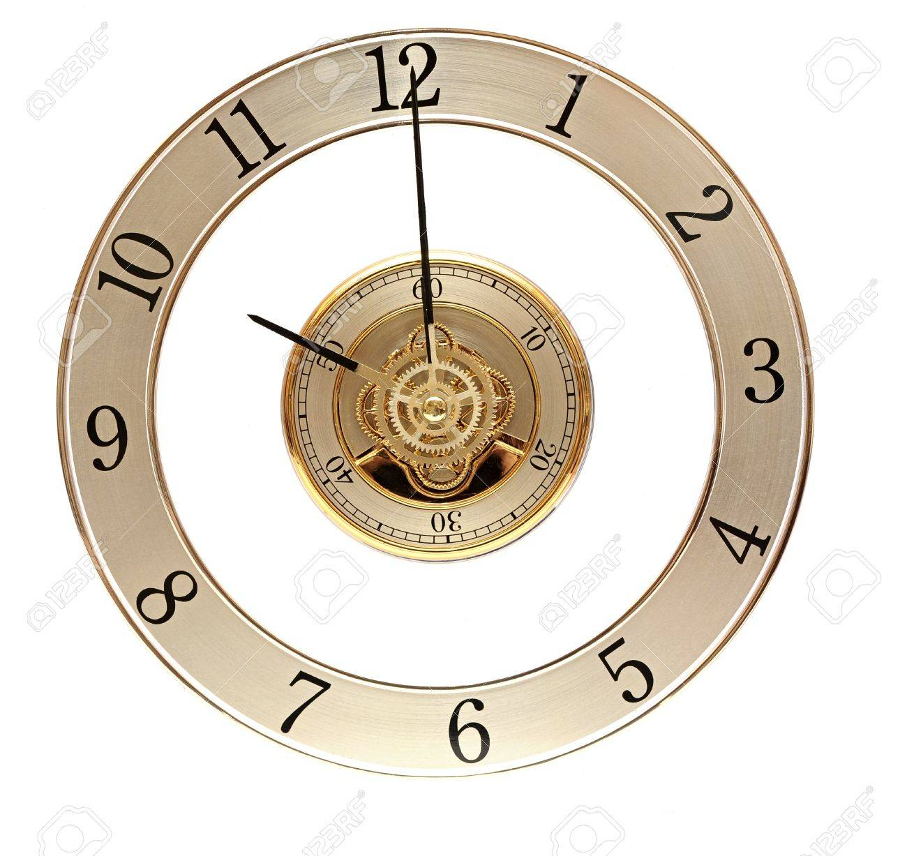 Golden Clock with gears on white Stock Photo - 11883158