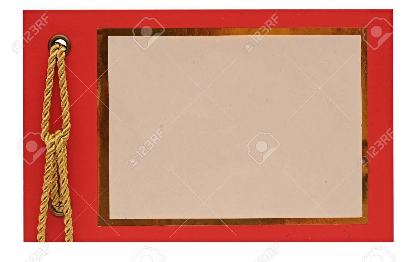 blank gift card with gold rope. space for your text Stock Photo - 12232422