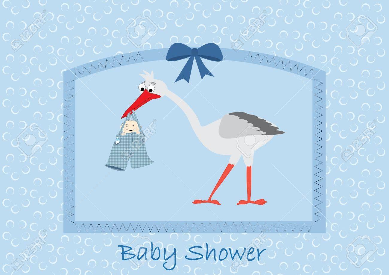 stork boy baby shower einladung lizenzfrei nutzbare vektorgrafiken, Einladung