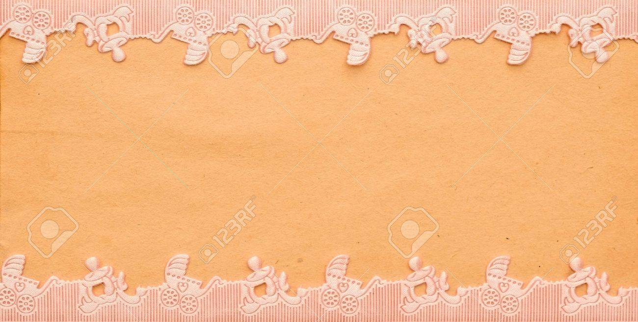 baby announcement card with pram and pacifier border Stock Photo - 12647254