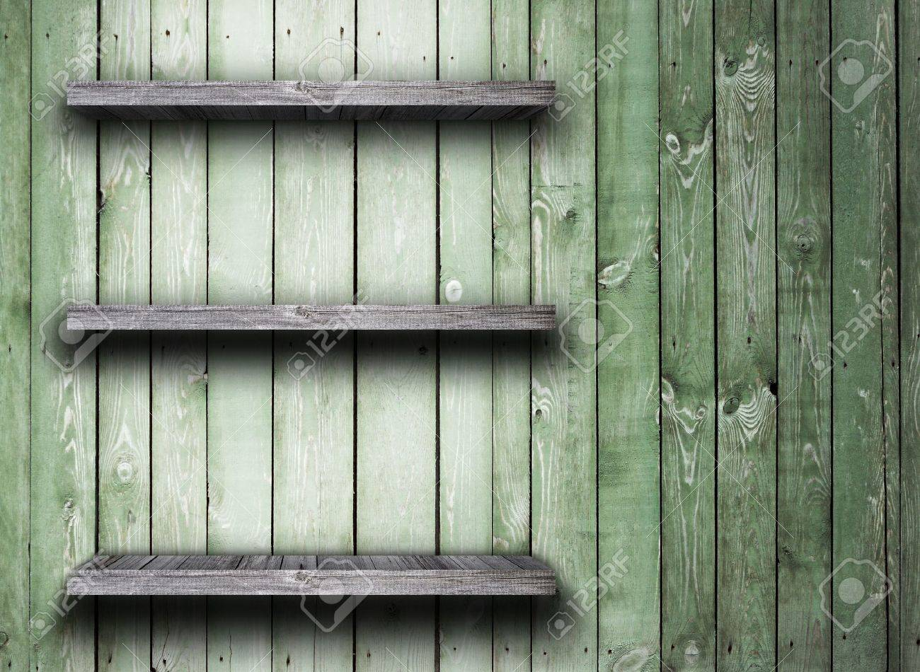 Old wood shelf on wooden wall Stock Photo - 13406156