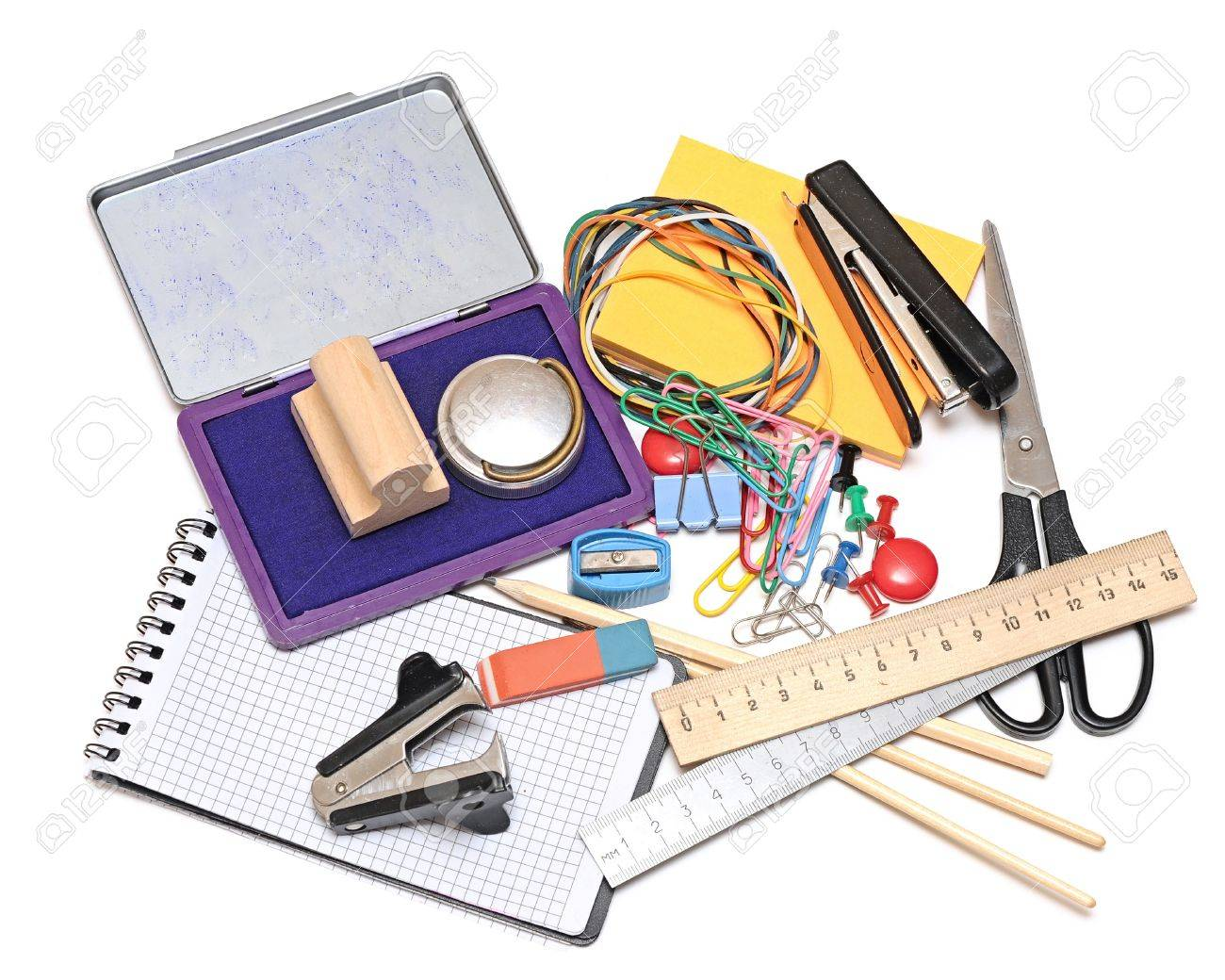 Many Office Tools On White Background Stock Photo, Picture And ...