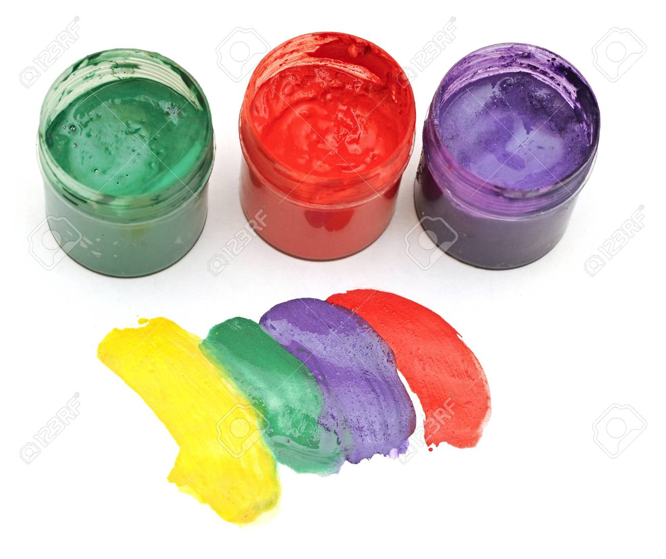 colorful stroke with opened paint buckets Stock Photo - 14641089