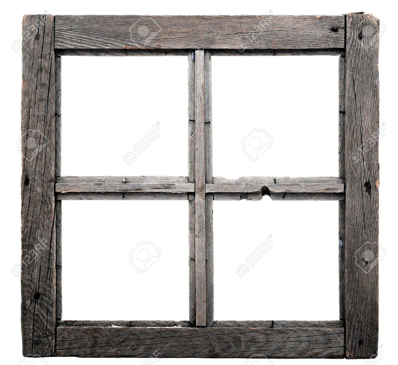 Old Window Frame Isolated On White Background. Stock Photo, Picture ...
