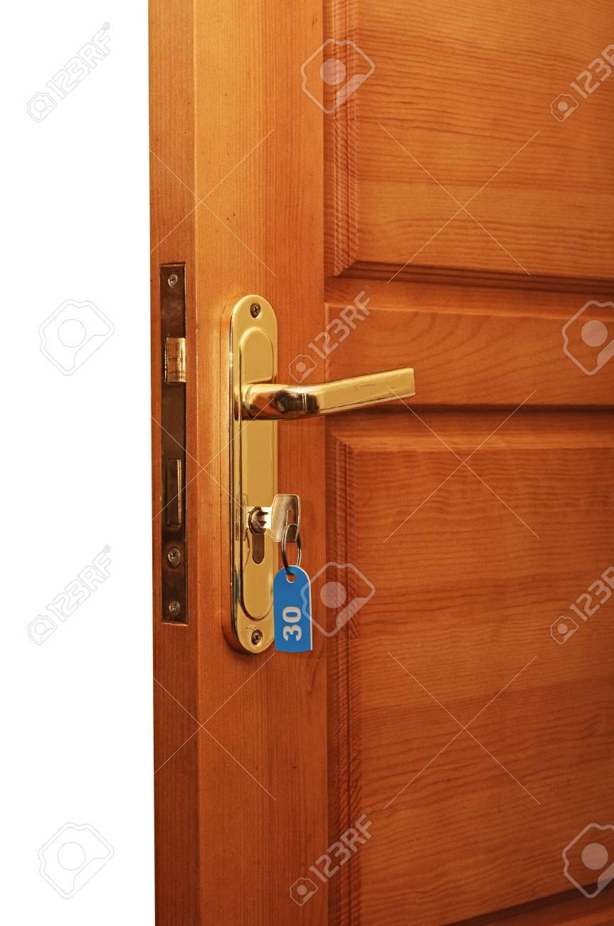 open door with keys Stock Photo - 16542069