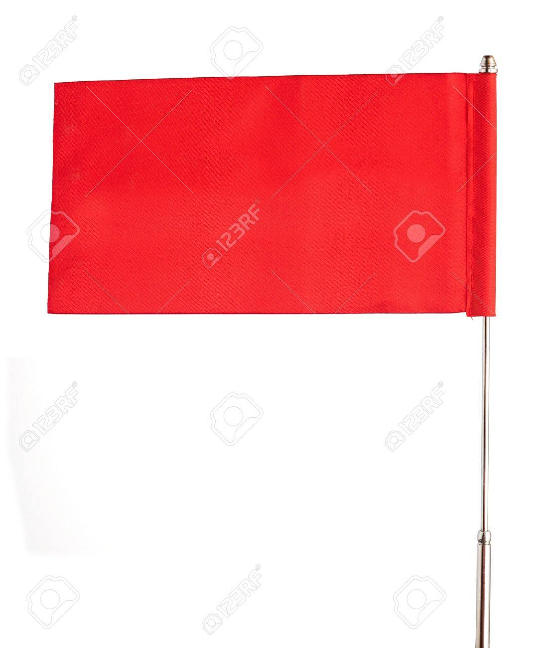 red flag waving on the wind. Isolated over white. Put your own text Stock Photo - 16584584