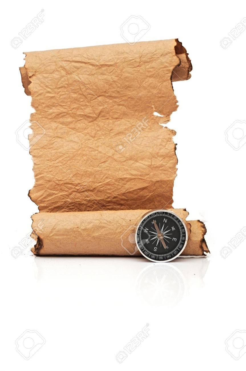 Hand made paper scroll with compass on white Stock Photo - 16945522