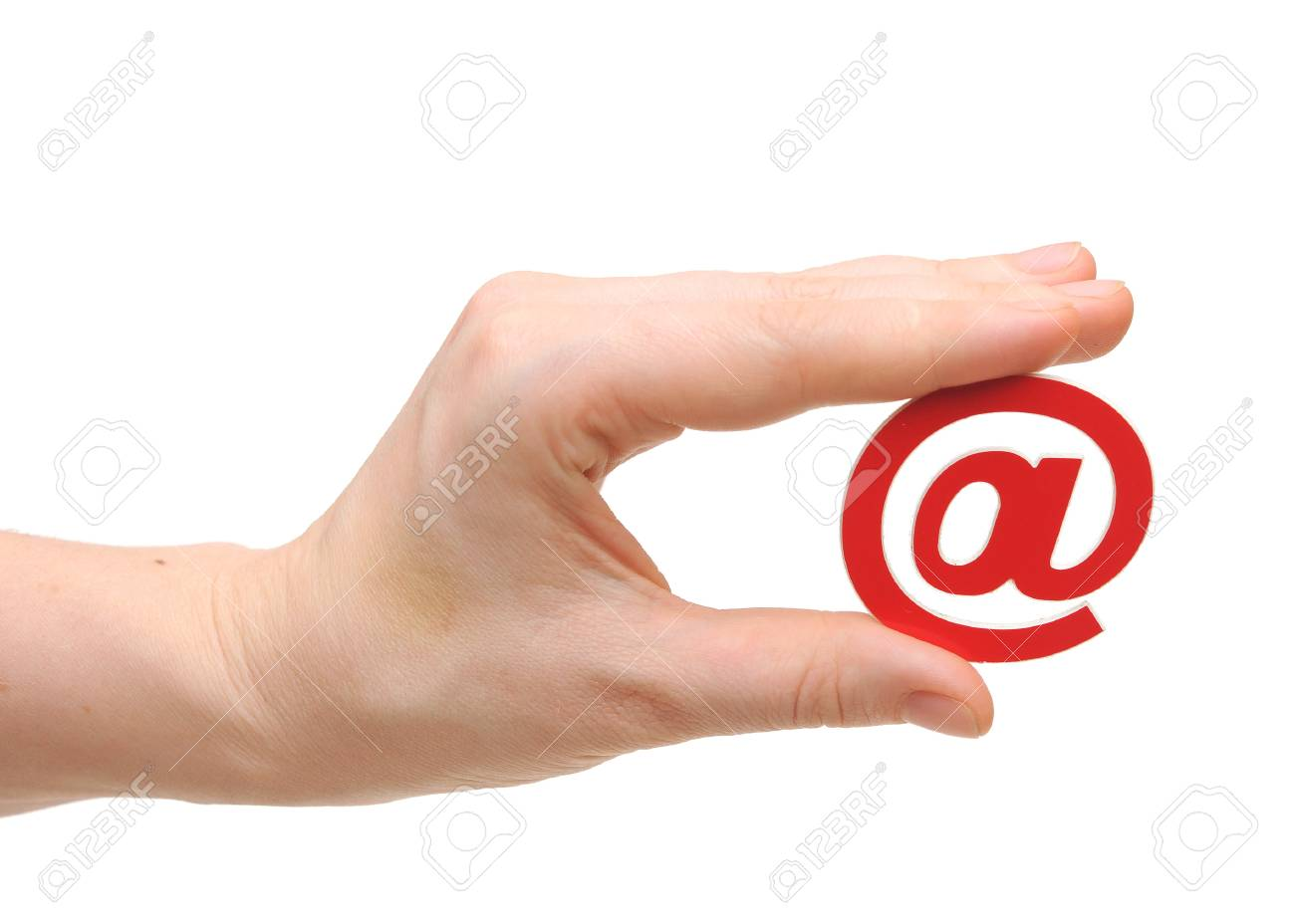 women in hand held e-mail sign over white background. internet symbol Stock Photo - 17947697