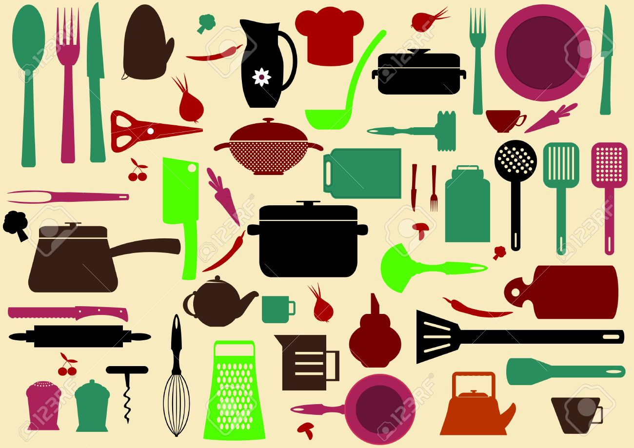 Cute Kitchen Pattern Illustration Of Tools For Cooking Stock Vector
