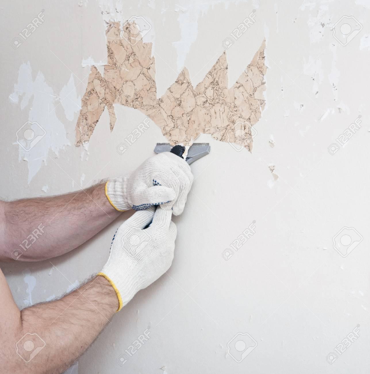 手は壁からの壁紙の削除 の写真素材 画像素材 Image