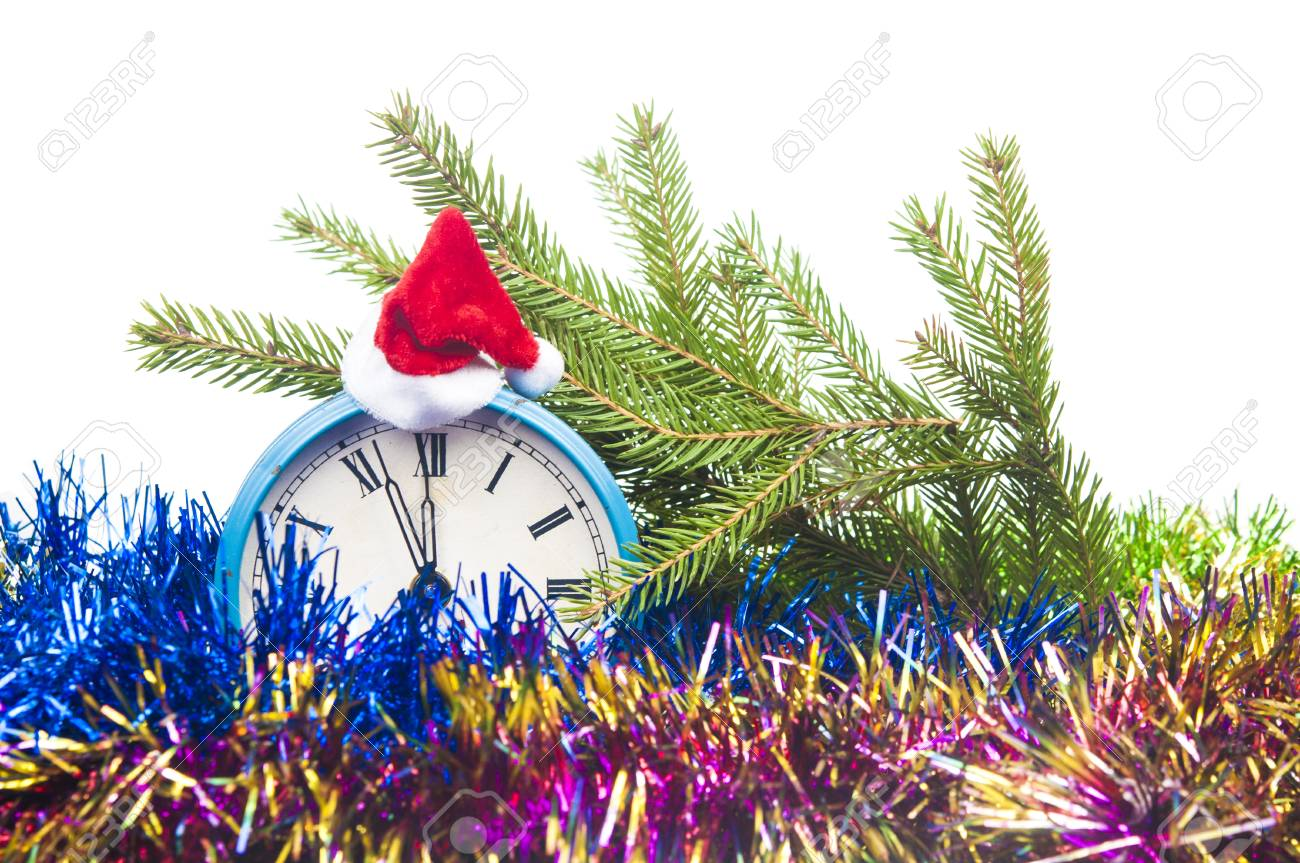 retro alarm clock decorations and santa hat on white background christmas countdown concept stock