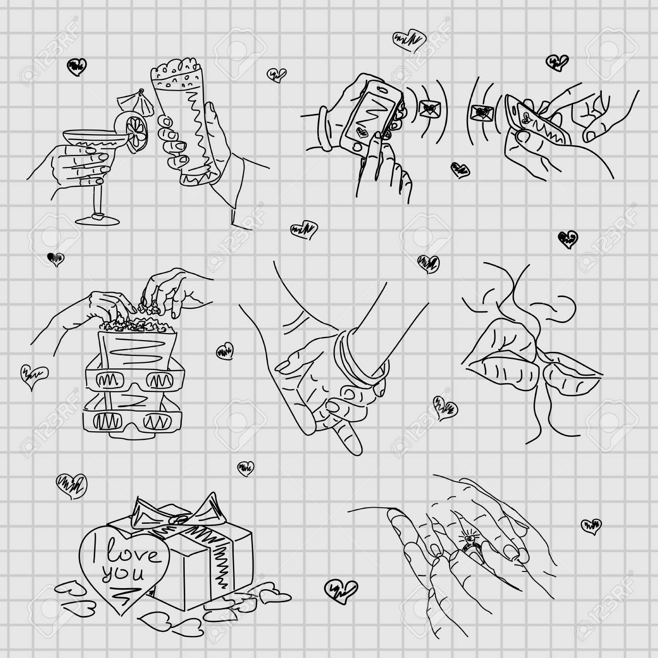 Love Story Set Of Vector Illustrations Of Love Cute Romantic Royalty Free Cliparts Vectors And Stock Illustration Image 70037049
