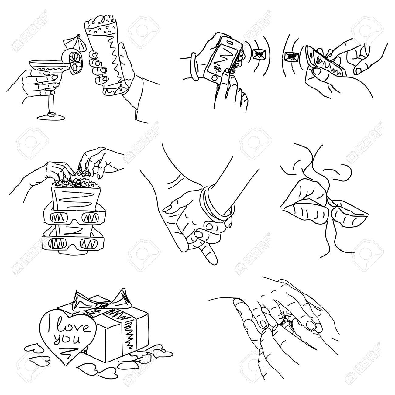 Love Story Set Of Vector Illustrations Of Love Cute Romantic Royalty Free Cliparts Vectors And Stock Illustration Image 70049225