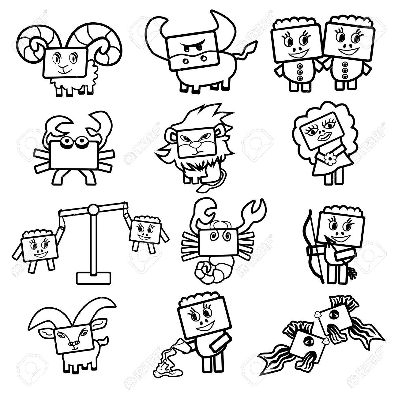 Set of vector icons of the zodiac signs cute cartoon black and white characters with