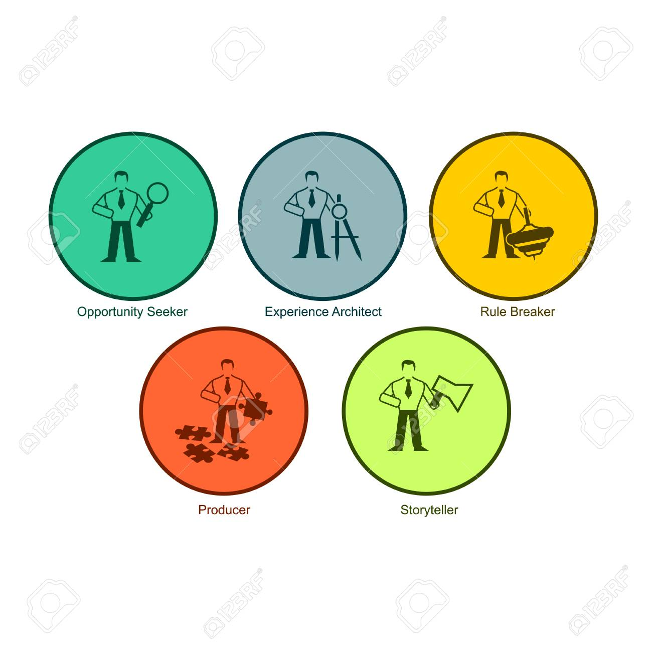 Set Of Multicolored Round Buttons Are Opportunity Seeker ...