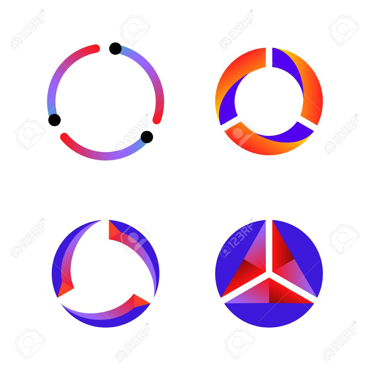 Set of cycle data tech icon vector background - 126941624