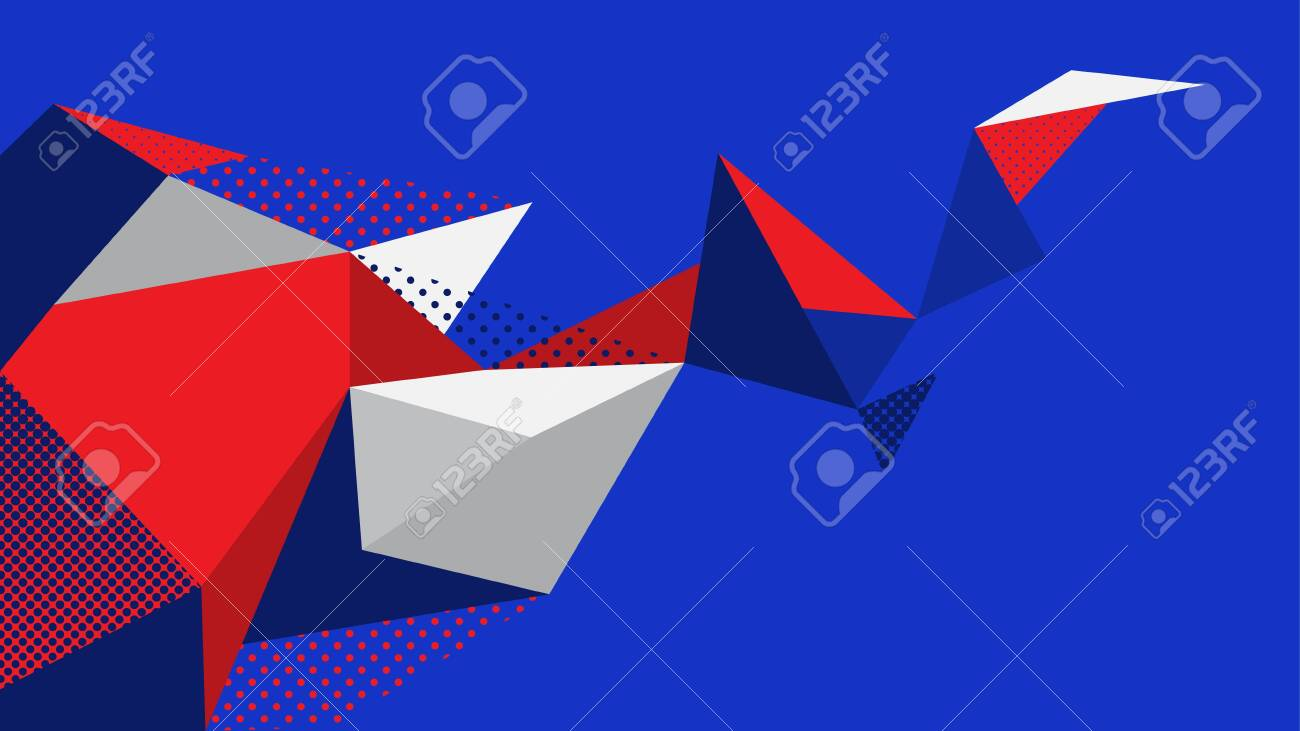 Abstract Background Blue Red White Geometric Elements