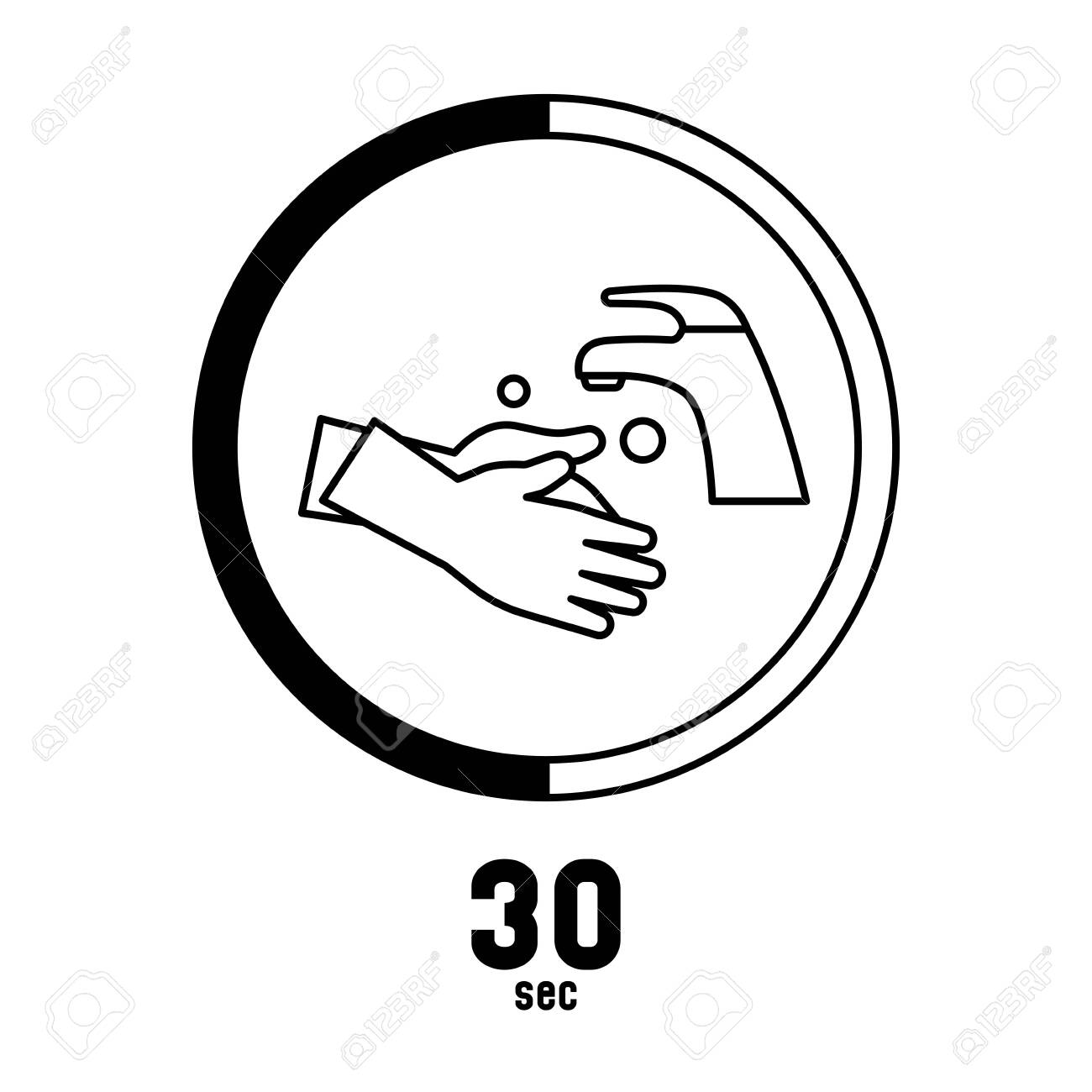 Washing hands 30 seconds keep healthy and prevent virus sign logo symbol - 151918626