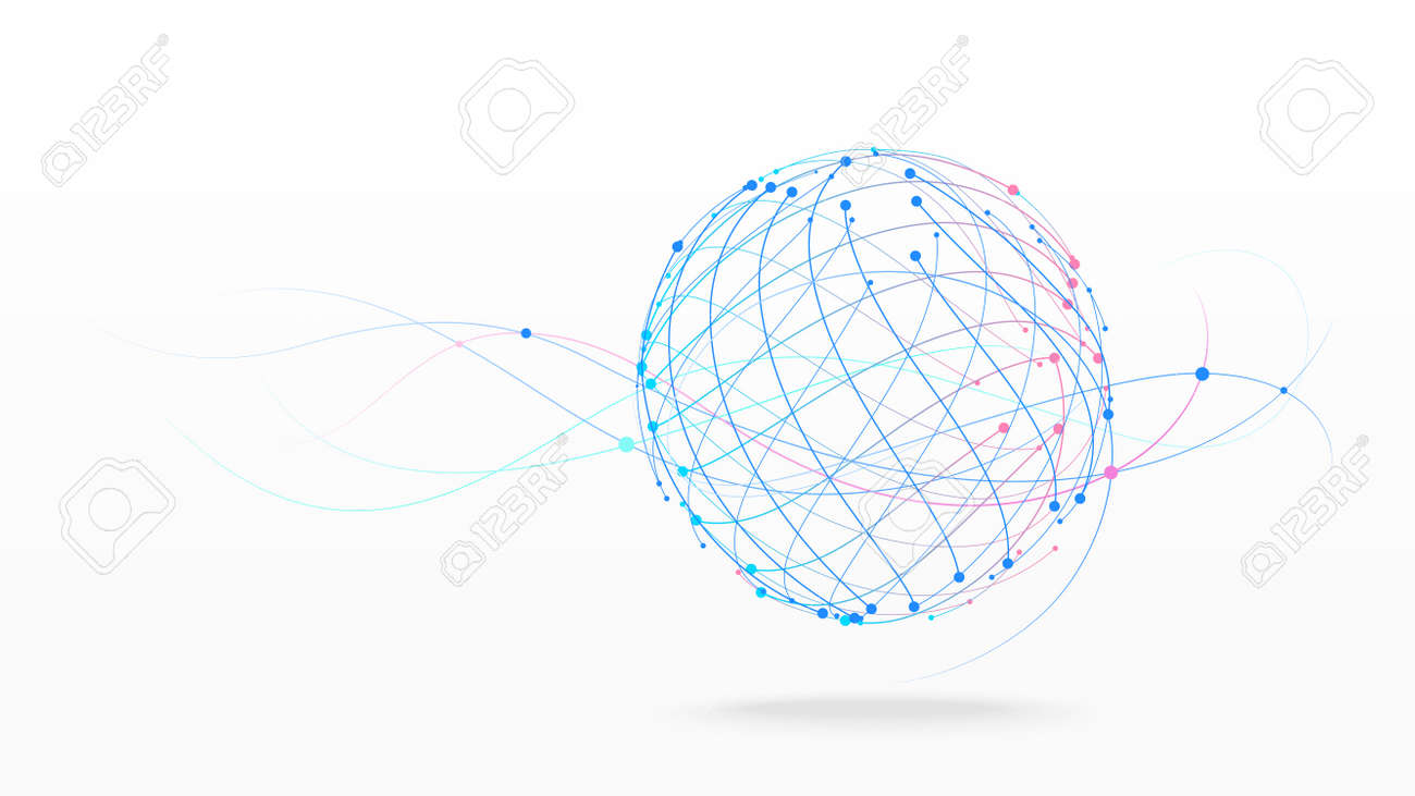 Futuristic globe data network elements abstract vector background - 155042751