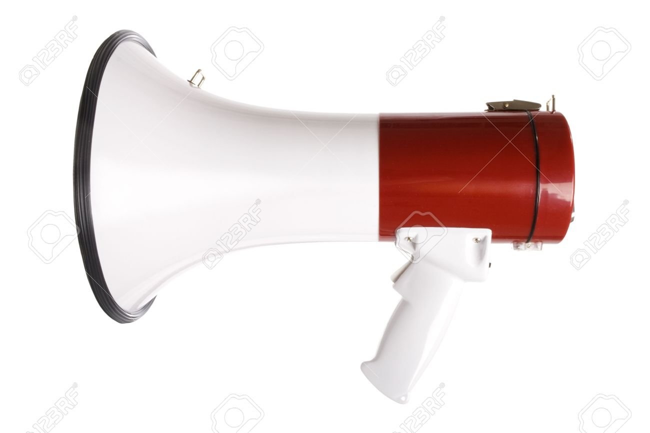Stock image of red and white megaphone isolated on white Stock Photo - 6296846