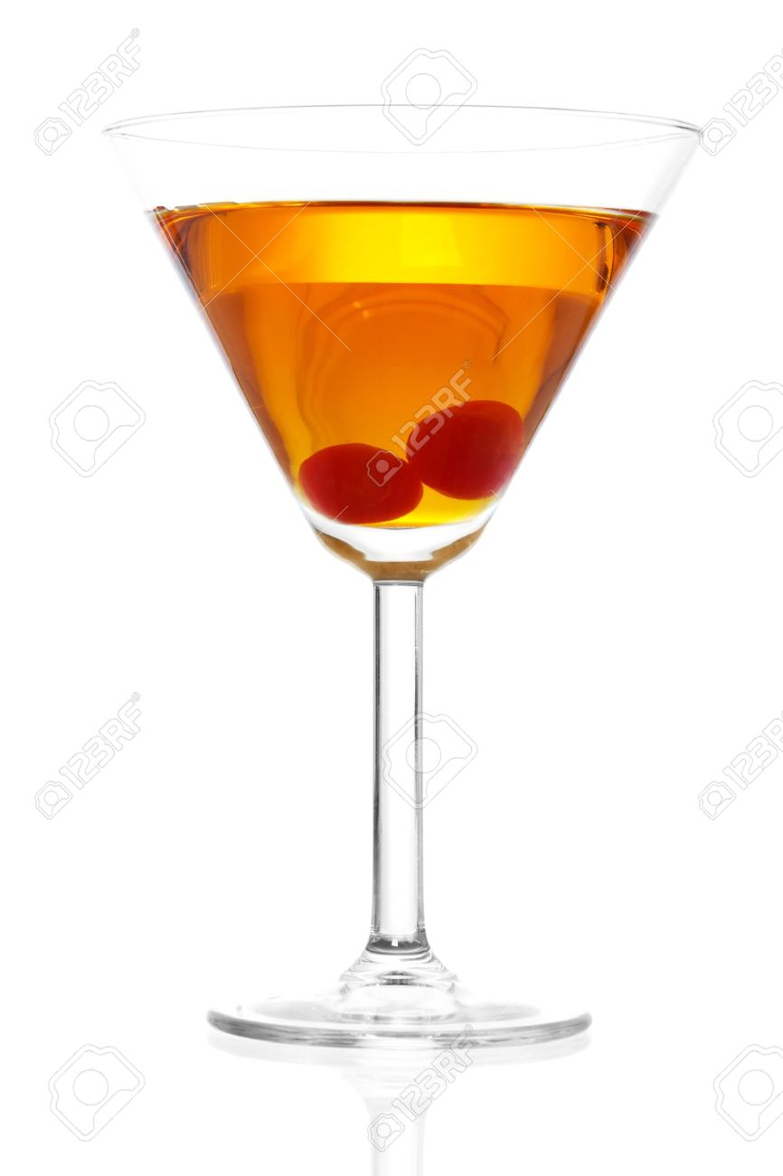 Stock image of Manhattan cocktail on martini glass with Maraschino Cherries over white background. Stock Photo - 7248469