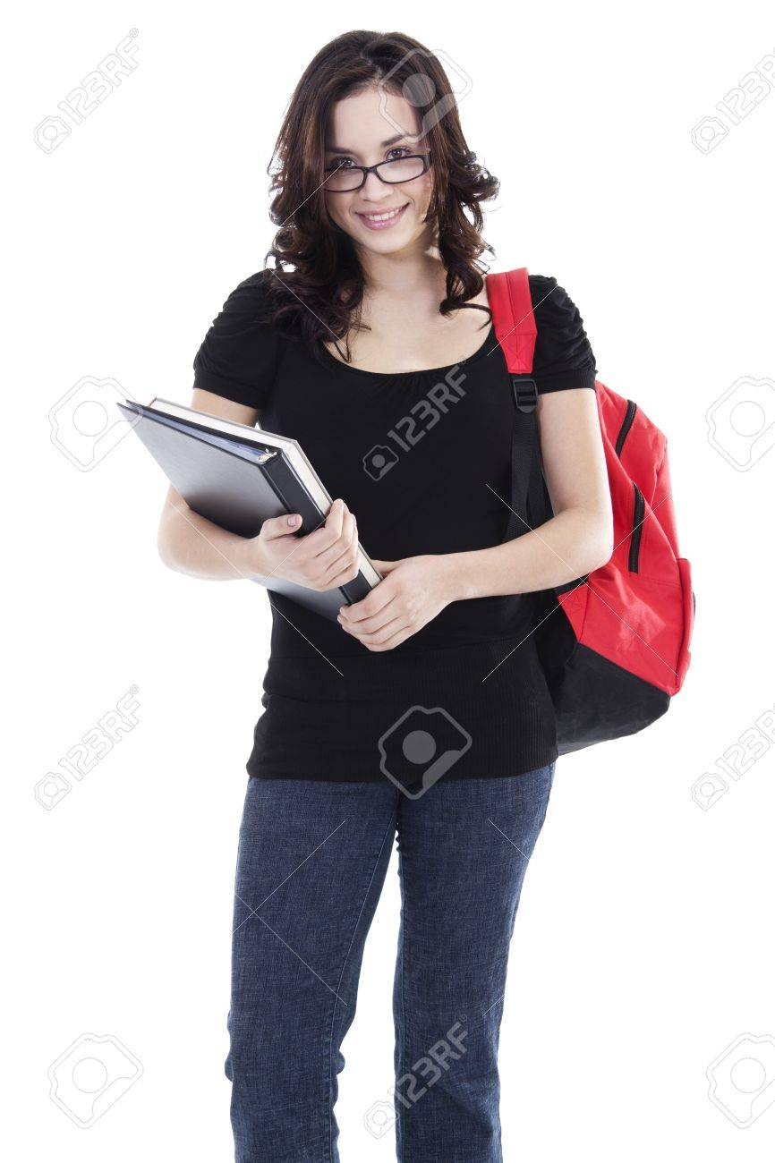 Stock image of young woman student over white background Stock Photo - 8627254