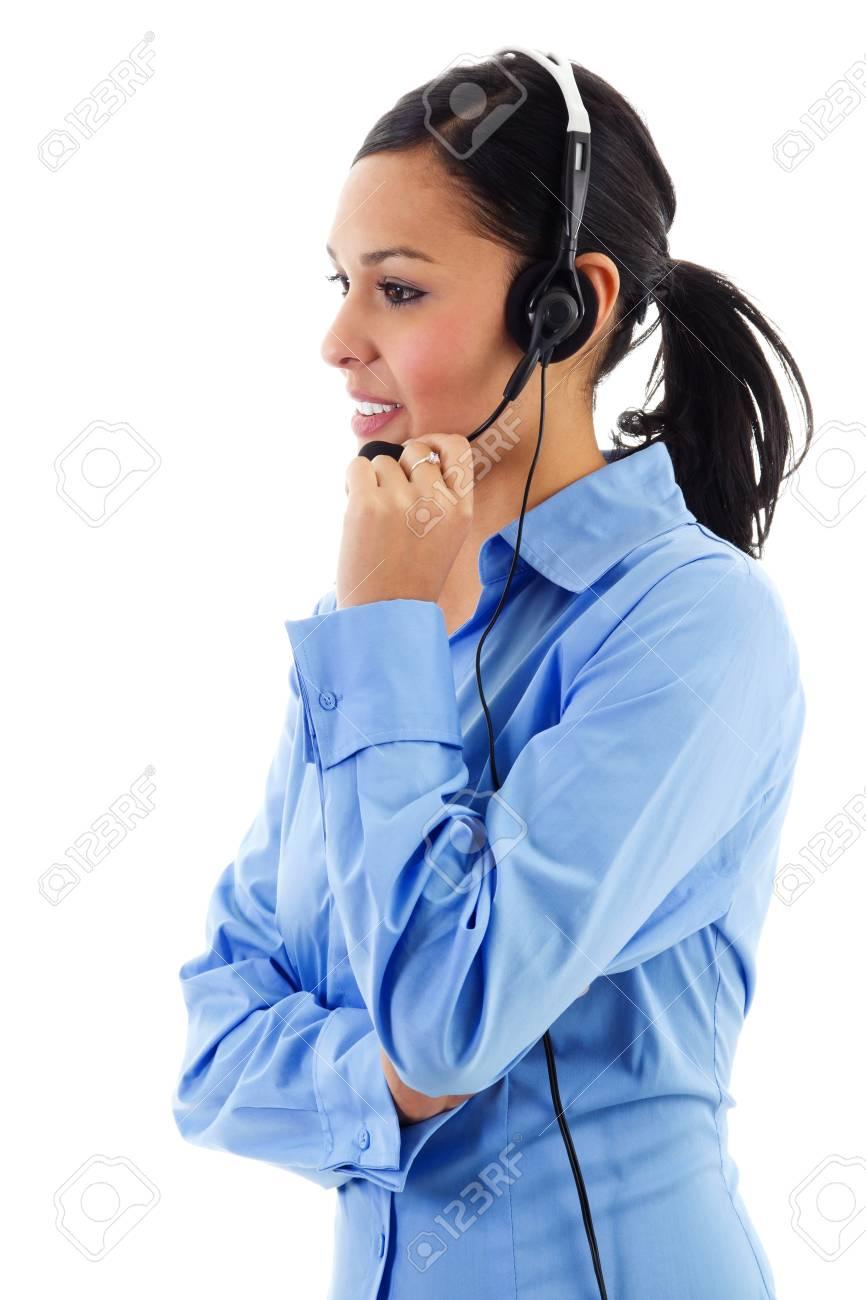 Stock image of female call center operator isolated on white Stock Photo - 11385392