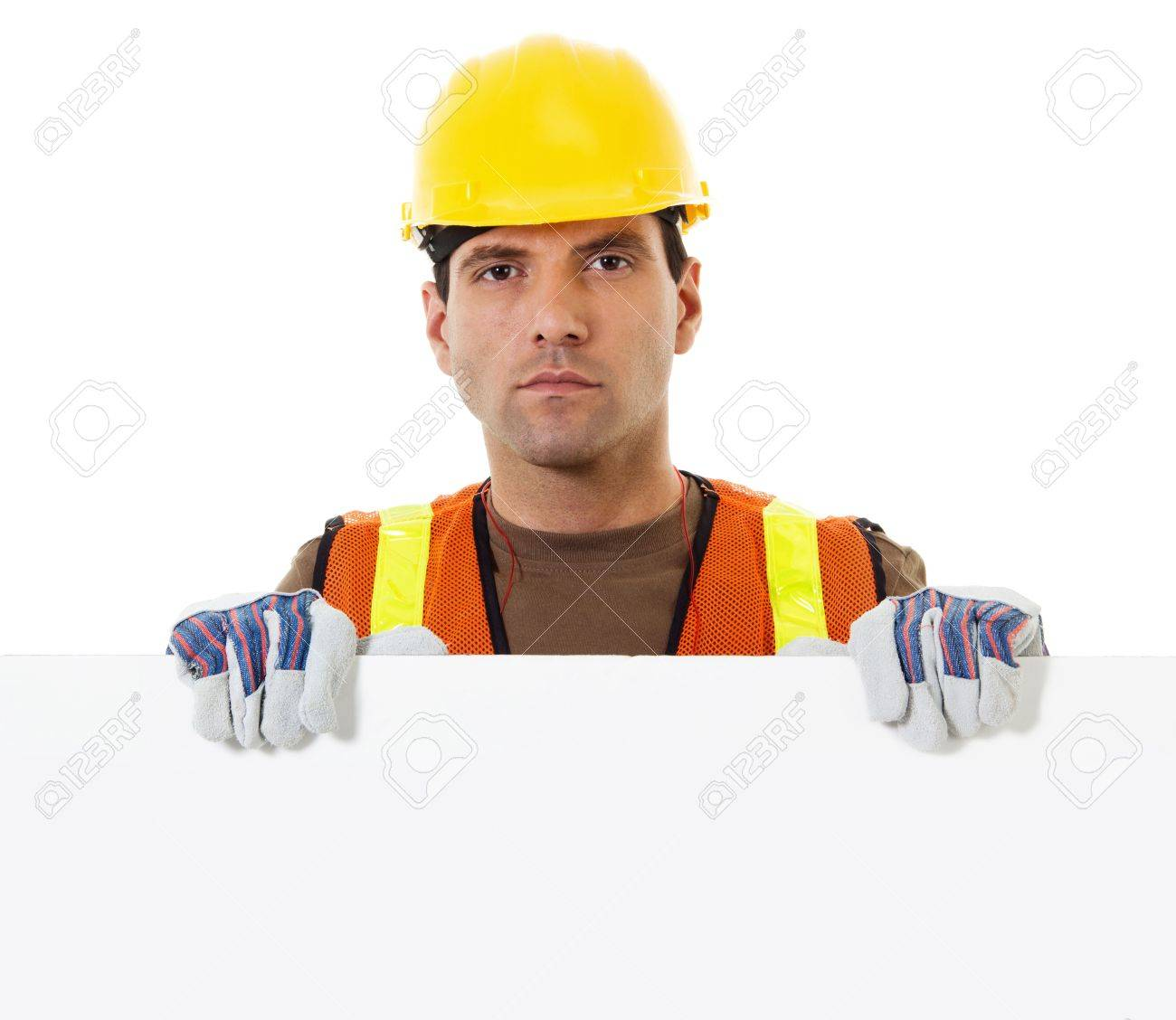 Stock image of construction worker holding blank sign with copy space Stock Photo - 14748466