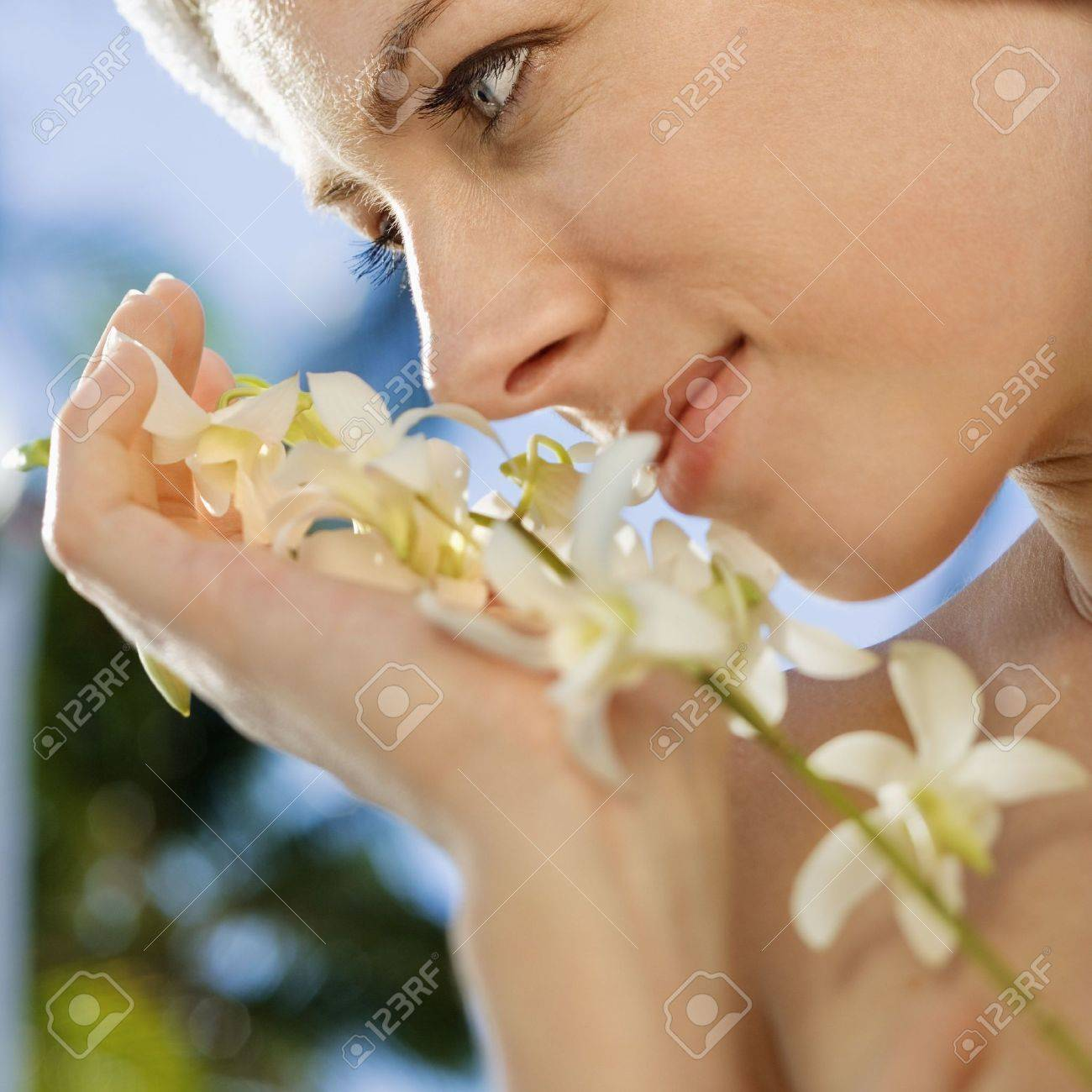 Woman with flowers. Stock Photo - 1850334